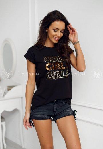 T-SHIRT GIRLS CZARNY